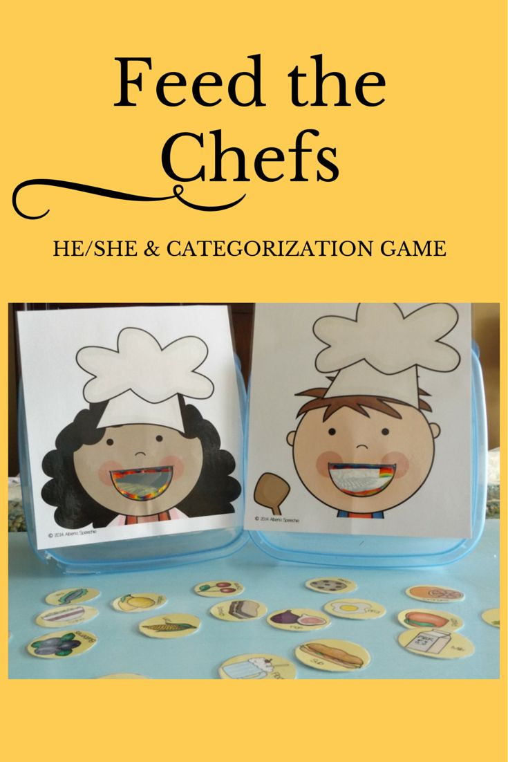 Here's a highly interactive game to work on those tricky he/she pronouns and/or categorization skills. With this game you can work on both receptive and expressive language skills.