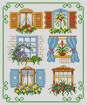 Kanaviçe pencerede çiçek motif mini tablo