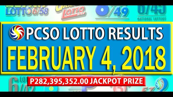 PCSO Lotto Result - February 4, 2018  | 6/58, 6/49, SWERTRES & EZ2 LOTTO