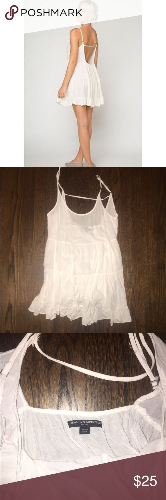 Brandy Melville Jada Dress White Worn 2-3 times. Wrinkles easy so it has a grunge look in the pictures but I assure you it's in great condition! One size but fits XS to M I would say. Very short but very light and cute, perfect for over a bathing suit. Brandy Melville Dresses Mini
