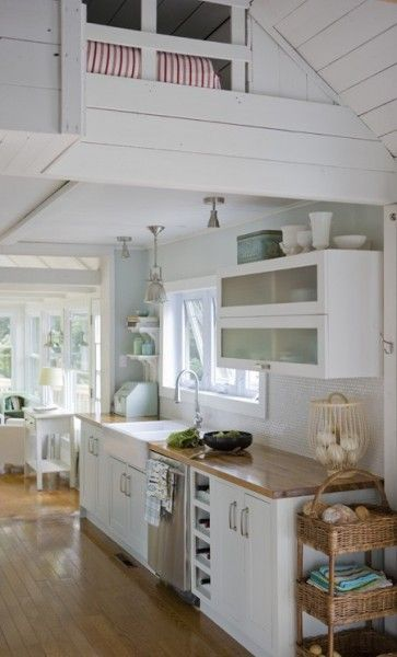 Small Cottage Kitchen and Interior | Tiny House Pins I realy like the loft above the kitchen-very cozy!