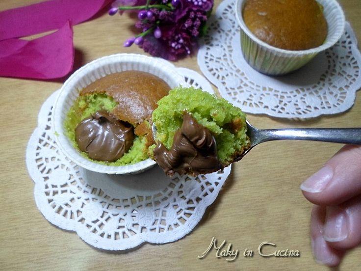 Muffin pistacchio e cuore di Nutella