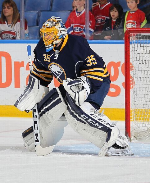 BUFFALO, NY - OCTOBER 23: Linus Ullmark #35 of the Buffalo Sabres takes part in warmups before their NHL game against the Montreal Canadiens on October 23, 2015 at the First Niagara Center in Buffalo, New York. (Photo by Bill Wippert/NHLI via Getty Images)
