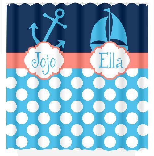 Náutico ducha cortina ancla velero monograma personalizada personalizada comparte hermano hermana baño playa toalla alfombra de baño de felpa hecho en los E.e.u.u.