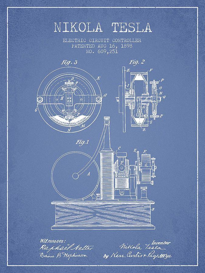 Nikola Tesla Electric Circuit Controller Patent Drawing From 189 Drawing