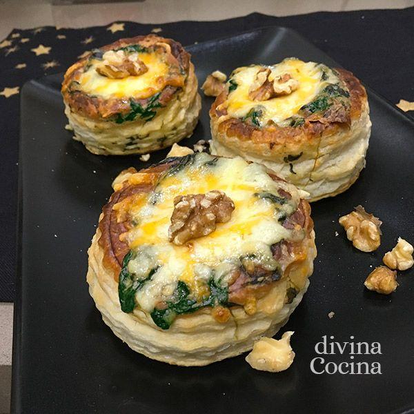 Estos volovanes de espinacas con nueces son un plato muy festivo con un corazón de queso cremoso y el toque crujiente de los frutos secos.