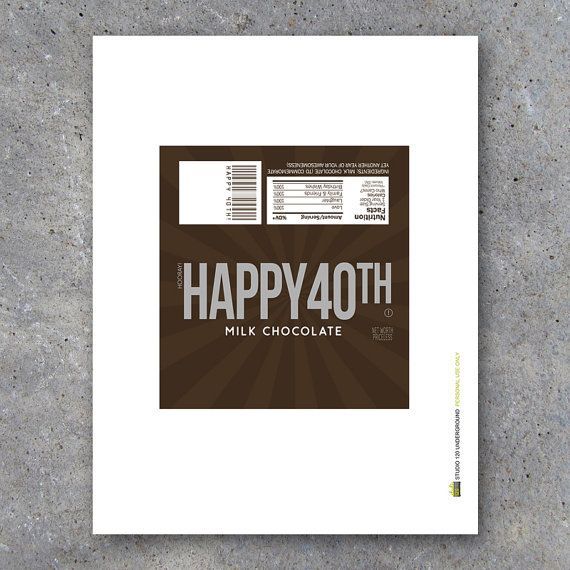 HAPPY 40TH Candy Bar Wrappers Printable Instant Download