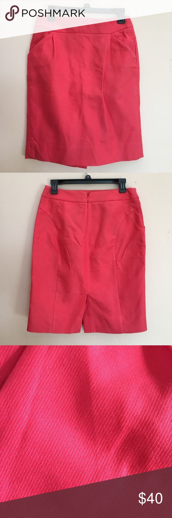 "J Crew Coral Pencil Skirt Size 4. Just took this piece out of storage and it no longer fits! My loss is your gain :) Small pen mark on front but may come out with wash/proper care. Very small/unnoticeable when worn. Please see picture 3. Back zipper. 2 front pockets. Approx. 20"" in length. J. Crew Skirts Midi"