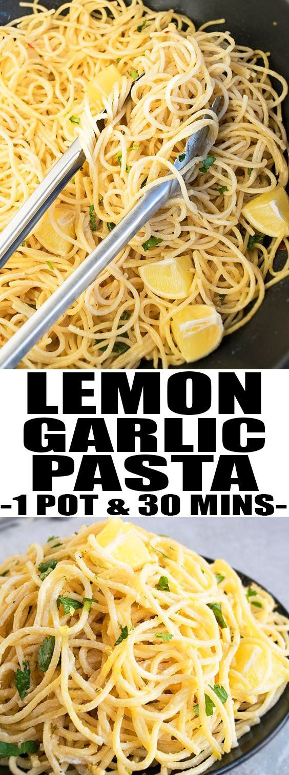 This easy one pot LEMON GARLIC PASTA is a simple weeknight meal that's ready in 30 minutes. This lemon pasta is packed with lemon juice and lemon zest