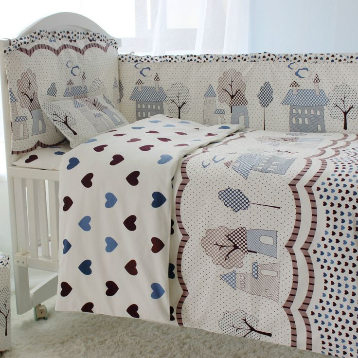 With Filler 10 Pcs/sets Baby Bedding Crib Set Baby Bed Accessories Comforter 100% Cotton Baby Boy Crib Bedding Set
