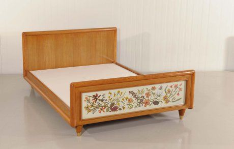 Jean ROYERE pair of beds with panels of dried flowers , oak wood, France, 1950