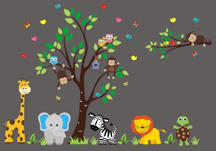 "Jungle Safari Animals Repositionable Reusable Wall Decal Baby Nursery 88"" x 132"""