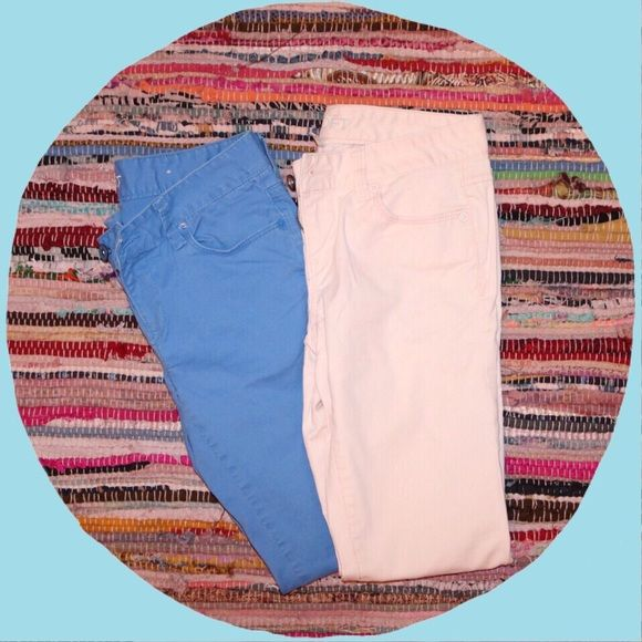 Two Pastel pants by Ann Taylor Loft Pink and Blue pastel pants in size 00p Ann Taylor Pants Skinny