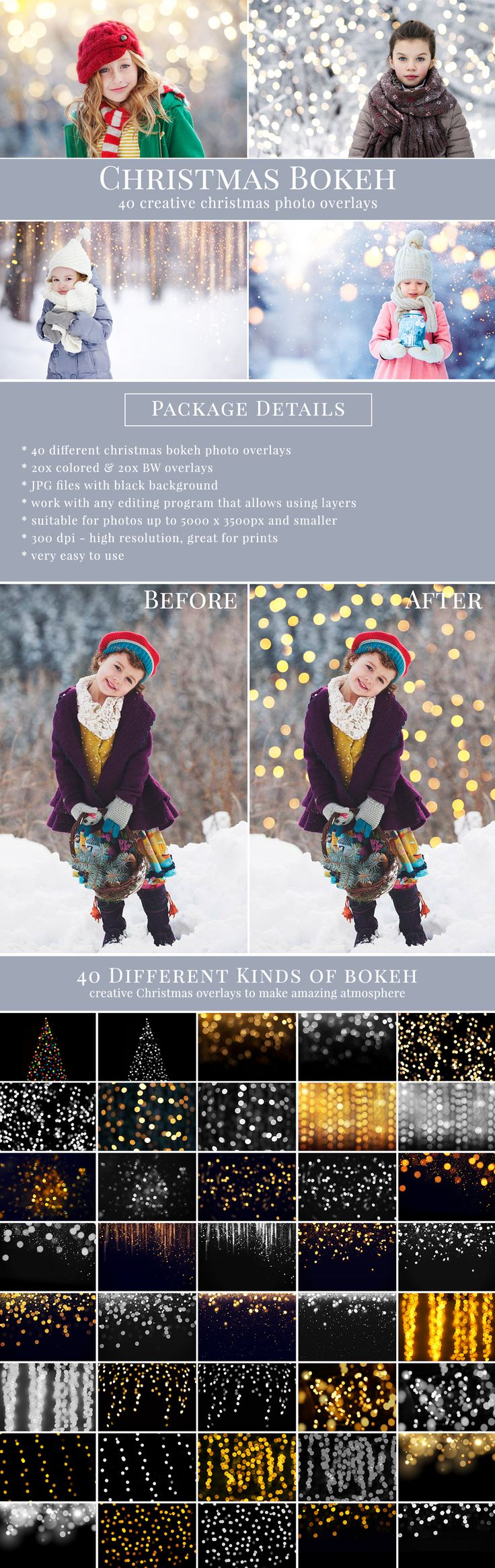 CHRISTMAS BOKEH photo overlays. Great for holiday season & Christmas pictures – style amazing scenes with fabulous atmosphere PACKAGE DETAILS: - 40 different Christmas bokeh photo overlays - JPG files with black background  - super easy to apply #brownleopard #photooverlays #christmasoverlays #christmasphotography #christmasphoto #holidayphotography #holidayminisessions #bokehoverlays