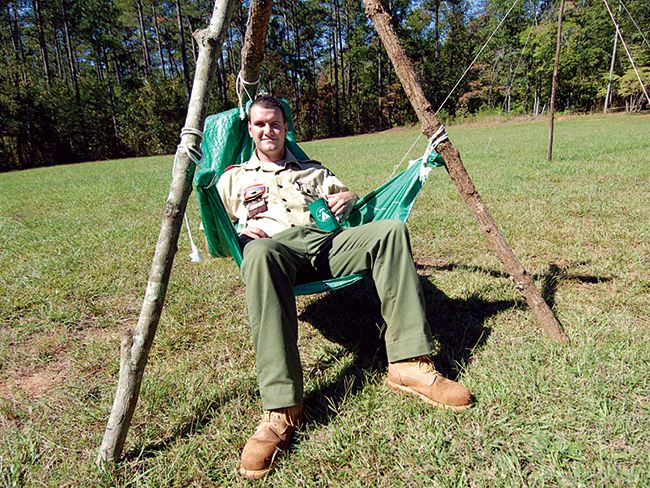 Relax around camp by lashing together a comfortable chair. It's easy if you have the pioneering skills.