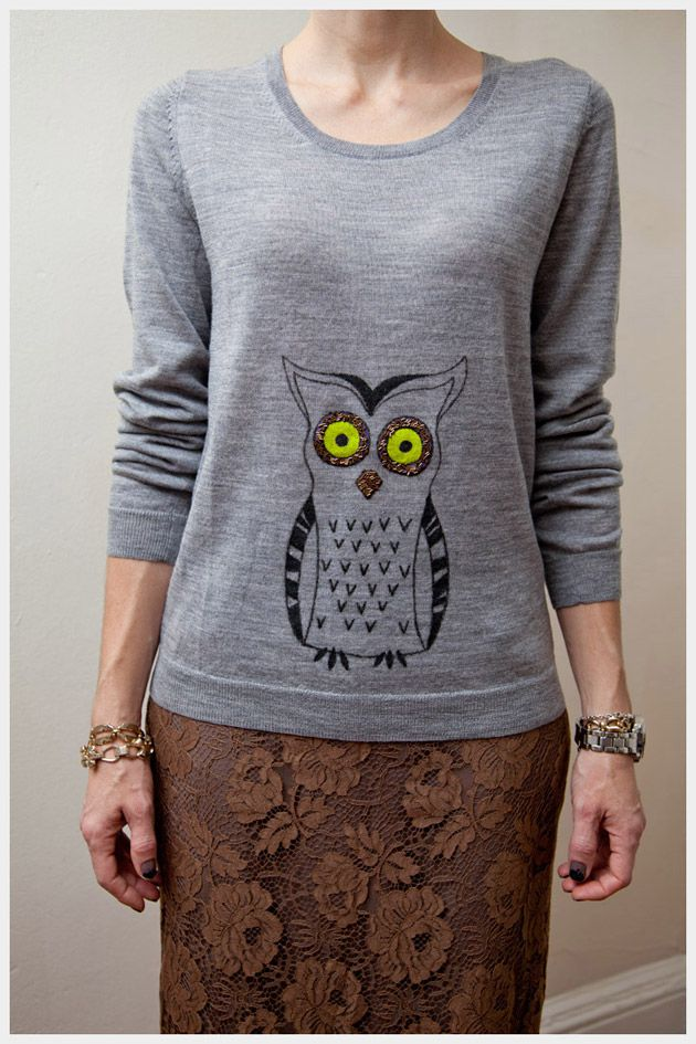 DIY: owl sweater - I think this would be super cute on a pregnancy sweater, so the owl would pop out.
