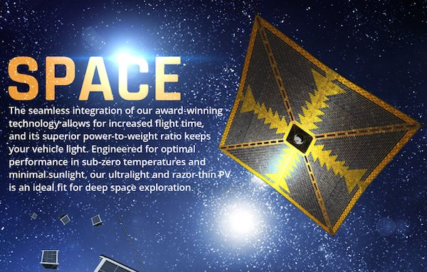 "US thin film solar company is sailing off into deep space exploration with ""gossamer"" thin film solar cells..."