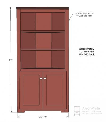 Corner display cabinet plans woodworking projects plans for Diy hutch plans
