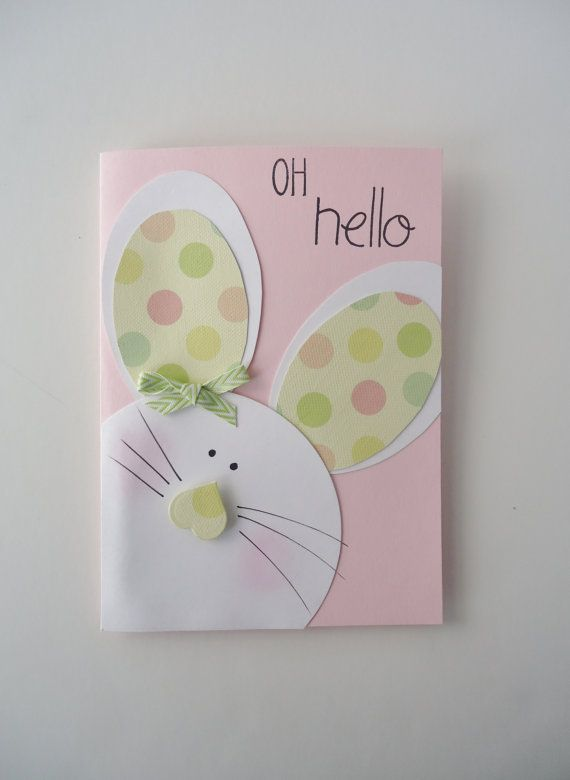 Easter Bunny card - Oh Hello - somebunny wants to wish you, Happy Easter - Pink girls bunny card with pastel polka dots ears and a bow
