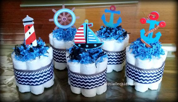 Set of 5 mini Nautical Diaper cake/ Nautical theme/ Natical centerpiece/ Nautical baby shower decorations / boys available at www.etsy.com/shop/LittleOrchidStudio