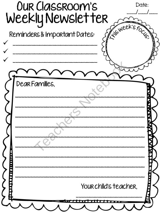 126 best Classroom Newsletter images on Pinterest Newsletter - newspaper templates for kids