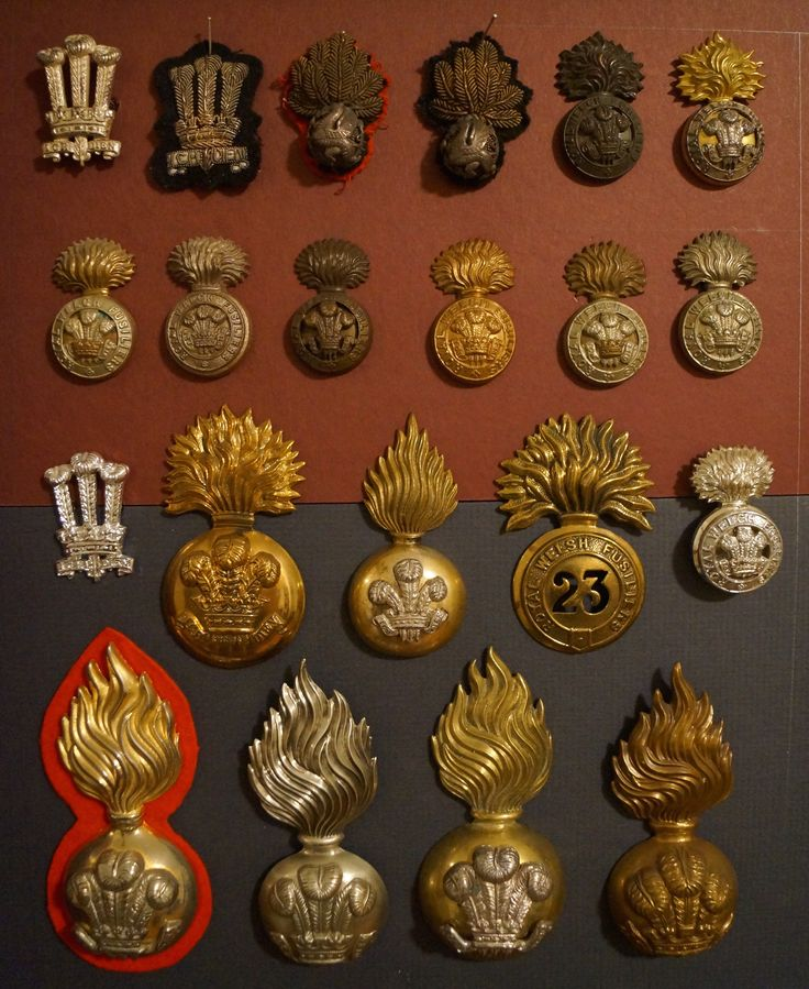A private collection of RWF badges.