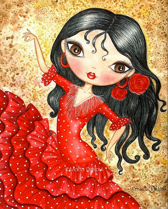 Flamenco Dancer Art print. Spanish girl whimsical painting. Spain flamenco doll watercolor art. Red dress illustration. Flamenco lover gift.