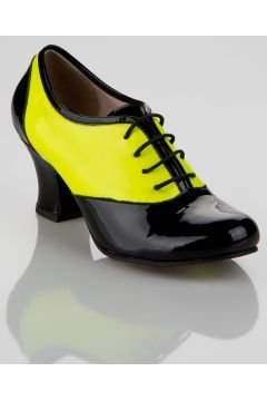 Elle Shoes Hakiki Deri Sarı Siyah Rugan Kadın Topuklu Ayakkabı