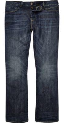River Island MensDark blue wash Clint bootcut jeans