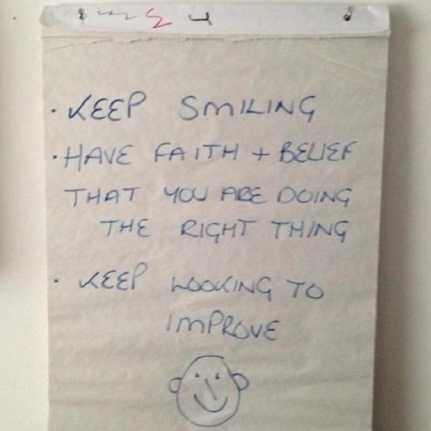 WISE WORDS ... Adkins' note to his players at the Saints training ground for his former charges before his departure