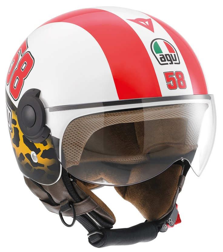 Authorised AGV stores now have two helmets on sale, one full face and one jet, which AGV has produced, in agreement with his family, to commemorate the champion Marco Simoncelli.