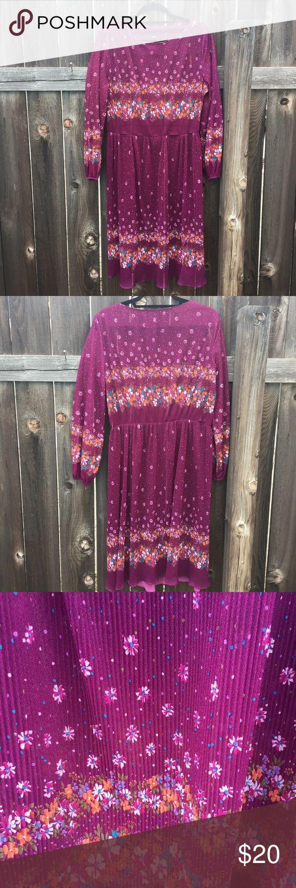 """VTG 80s long floral Purple long sleeve dress SZ M VTG 80s long floral Purple long sleeve dress SZ M- ARMPIT TO ARMPIT 25"""" front length 40"""" elastic waist accordion pleats Vintage Dresses Midi"""