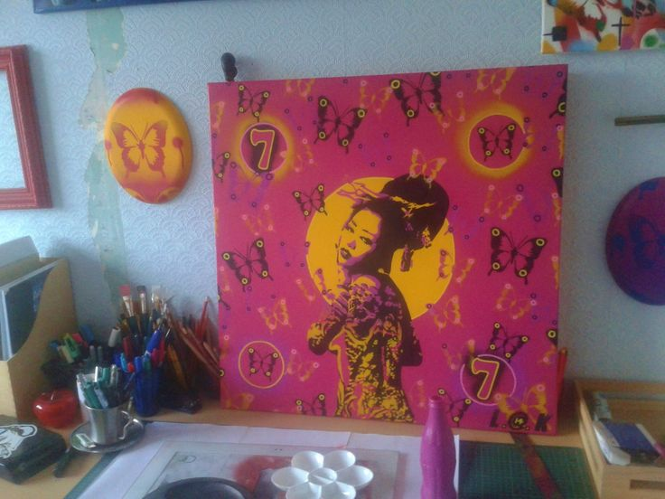 Japanese Geisha woman painting,madame butterfly,stencil art,spray paints,28 by 28 inch canvas,planet asia,pink,yellow,tattoos,lucky seven by AbstractGraffitiShop on Etsy