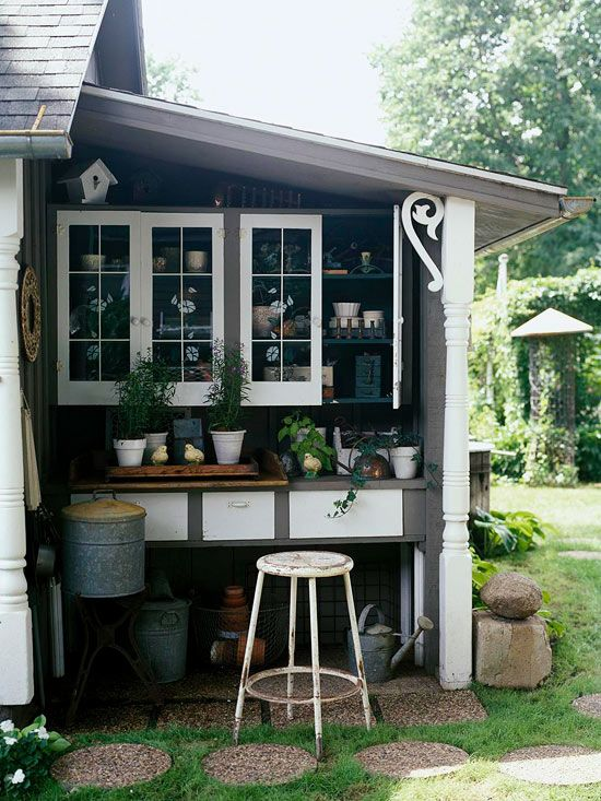 Use odd spaces to make your own miniature potting shed! See more ideas for garden sheds: http://www.bhg.com/home-improvement/outdoor/shed-playhouse/potting-sheds-and-greenhouses/?socsrc=bhgpin041313leantopottingshed=4