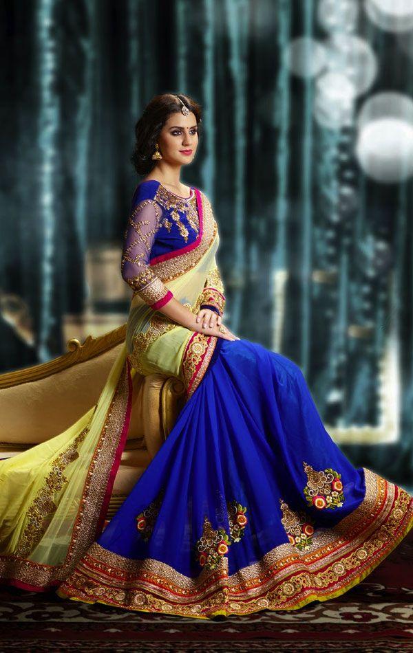 Gorgeous Blue and Cream Color Fashion Designer Saree