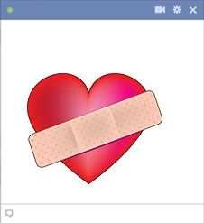 Heart with bandage - Are you broken hearted? This is a great emoticon to express how you feel.