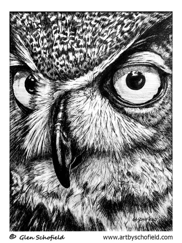 #026 Owl - 18 X 24 <---- www.artbyschofield.com #animal #art #artoftheday #creative #drawing #fineart #glenschofield #icon #iconic #icons #illustra #illustration #ink #myart #onlineart #onlineartgallery #onlineartsales #owl #paint #painting #paintings #penandink #pens #picture #portraits #portraiture