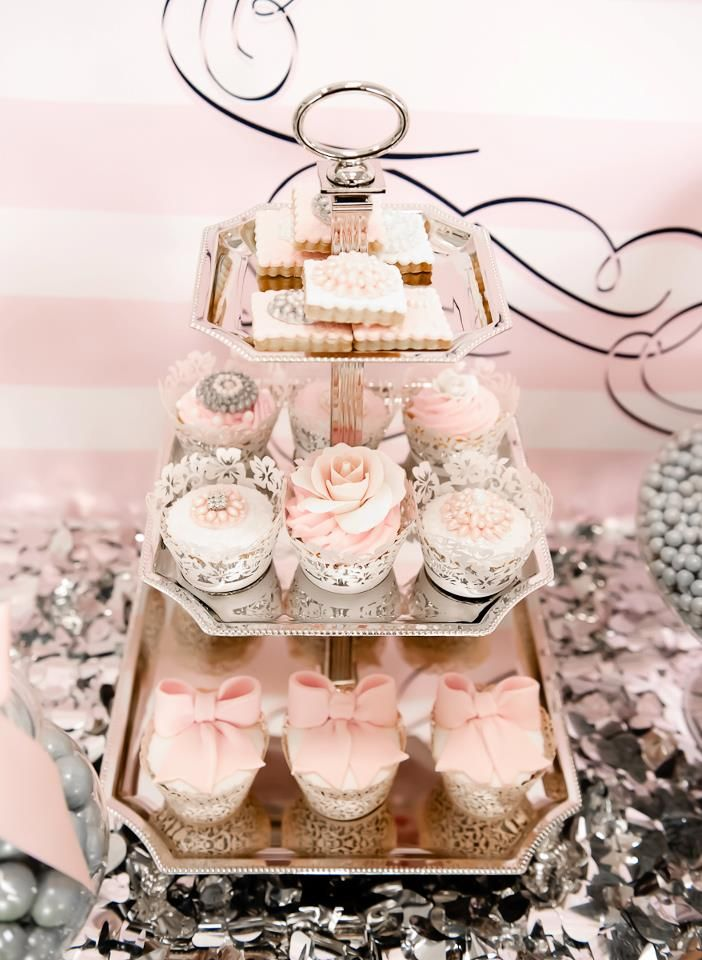 Pink and Silver Dessert Table