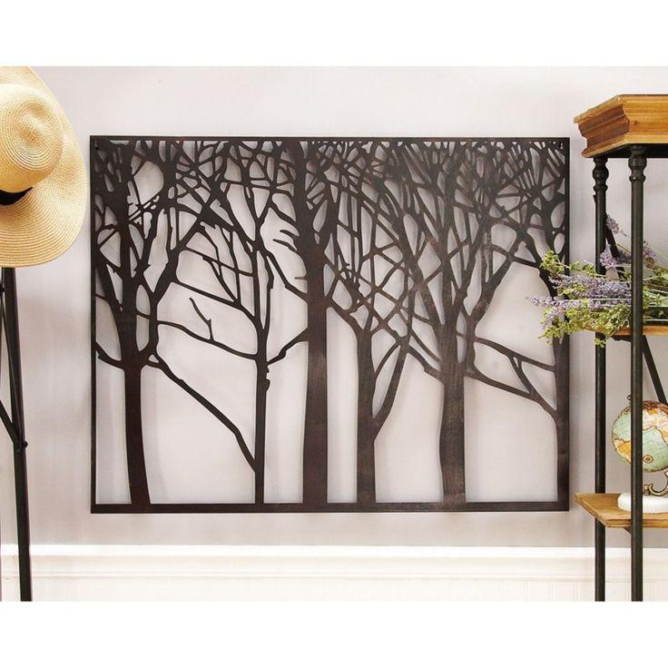 decmode framed black metal tree silhouette wall art 38w on metal wall art id=32072