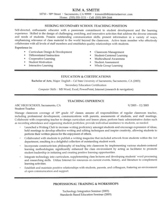 Secondary School Teacher Resume Sample. Notice the job description and don't forget the trainings!