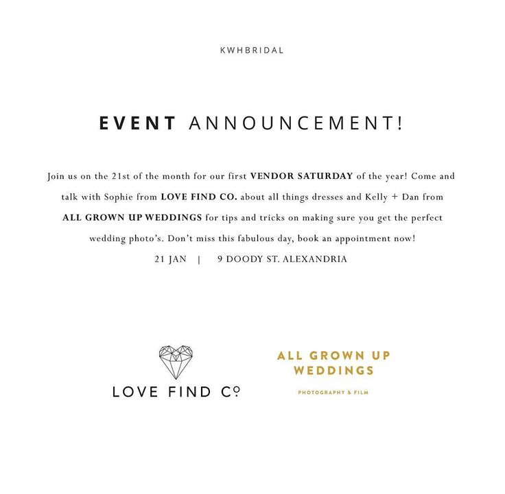 B O O K . N O W // Join us for the first of these fabulous events for 2017! Book your bridal appointment online and enjoy the opportunity to get advice from these industry experts and some bubbles on us! Places fill up fast for be sure to get in quick! @kwhbridal @lovefindco @allgrownupweddings @karenwillisholmes_sydney Reposted Via @kwhbridal