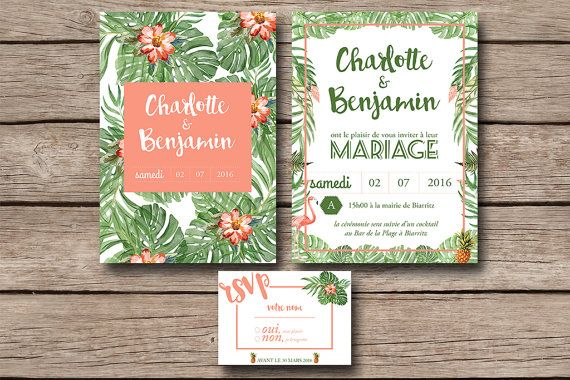 Printable Wedding invitation with rsvp card  by LappartementStudio