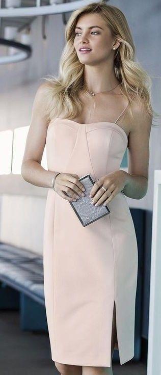 #summer #lovely #fashion |  Nude Off The Shoulder Dress