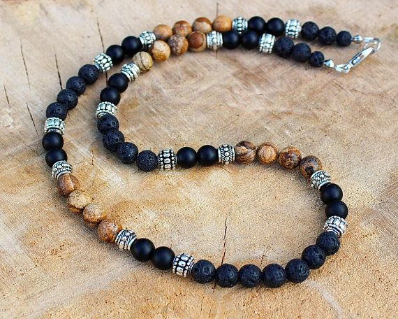 Mens Necklace, Black lava, Brown picture jasper, Matte black onyx, 8mm Beaded Mens Stone Necklace, Jewelry for Men Roman Empire ages style in 8mm beads! FROM NOW our best-selling necklace is in 8 mm! Welcome! YOU CAN CHOOSE THE BEADS SIZE NEEDED IN THE VARIATIONS - 8mm, 6mm or