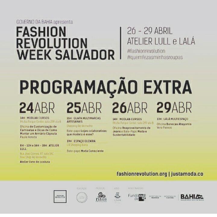 Véspera da abertura oficial da Fashion Revolution Week Salvador e eu estou sem conseguir dormir e bem louca pra começar toda essa maratona! Hoje tem bate-papo duplo: na @lojaguapa_  às 16h vamos conversar sobre o modelo das lojas colaborativas. Mais tarde às 19h na @euzaria_  vamos falar sobre Moda Consciente. Espero vocês! #FashionRevolution #QuemFezMinhasRoupas
