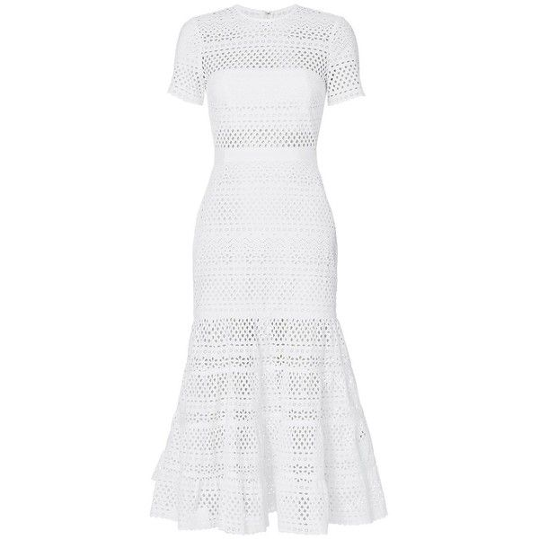 Self-Portrait Women's Bea Eyelet Midi Dress ($510) ❤ liked on Polyvore featuring dresses, white, see-through dresses, short sleeve midi dress, white dress, skater skirt and midi skater skirt