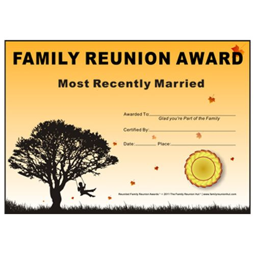 16 best reunion theme images on pinterest family gatherings family reunion hut most recently married award down south theme free family reunion certificate yelopaper Gallery