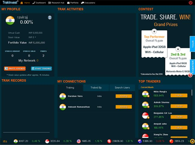 Trade with virtual money in virtual environment using virtual stock trading Platform called TrakInvest. World's first virtual social equity trading platform