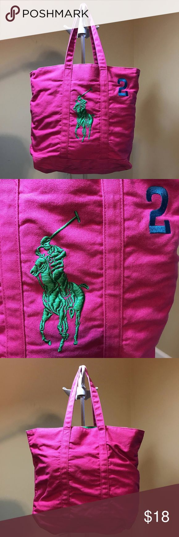 SALE!RALPH LAUREN BIG PONY PINK TOTE BAG CANVAS PRE-OWNED IN A VERY GOOD CONDITION  FOR $18.00 ONLY  Don't miss this opportunity to have this bag while on mega sale!  THANK YOU FOR SHOPPING WITH US AND PLEASE MAKE SURE TO CHECK OUR STORE FOR MORE TOP QUALITY PRODUCTS YOU WILL LOVE!   THIS IS GUARANTEED BRAND NEW 100% AUTHENTIC MERCHANDISE   ITEMS ARE STORED IN AN AIRCONDITIONED CLOSET THAT IS SMOKE FREE AND PET FREE. Ralph Lauren Bags Totes