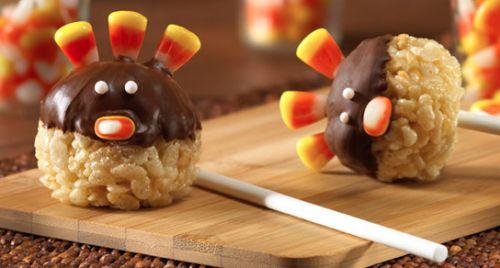 Turkey Treats - Thanksgiving Food Ideas: Turkey Pop, Turkey Rice, Turkey Treats, Food Ideas, Candy Corn, Krispie Turkey, Rice Krispie Treats, Kid, Thanksgiving Treats